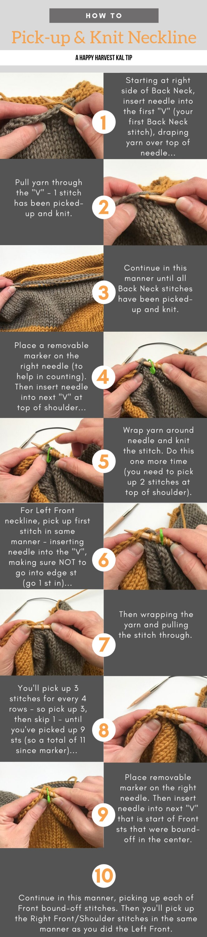 photo tutorial of picking up stitches by Elizabeth Smith