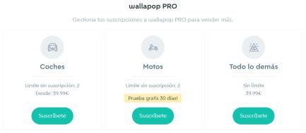 tarifas wallapop pro