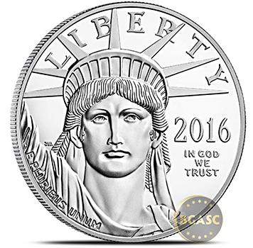 2016 American platinum Eagle coin front bgasc