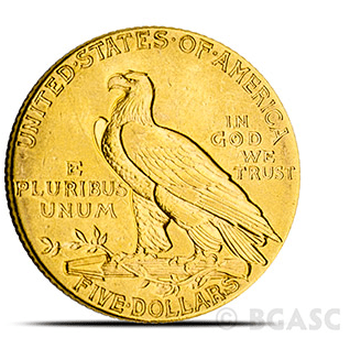 $5 Indian gold coin back