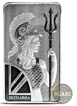 Britannia 10 ounce silver bar front