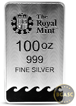 Britannia 100 ounce silver bar back