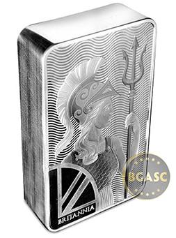 Britannia 100 ounce silver bar side