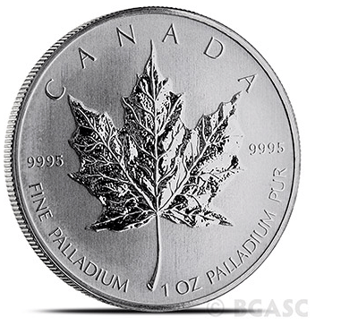 Canadian Palladium Maple Leaf reverse