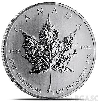 Canadian Palladium Maple Leaf reverse