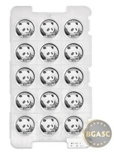 Chinese 30 g 2018 silver panda tray of 15