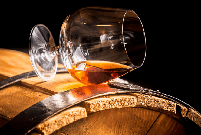 Cognac glass on barrel