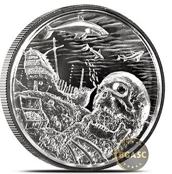 2 oz Davy Jones Locker Ultra HIGH Relief Silver Round .999 Privateer
