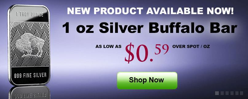 One ounce silver buffalo bars for sale