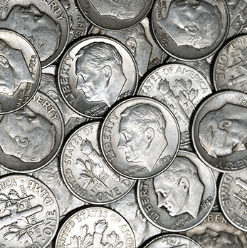 Roosevelt pile of dimes from bgasc web site