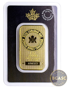 Royal Canadian Mint one ounce gold bar