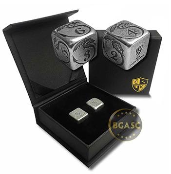 Silver dice with dragon design