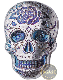 Spooky 2 oz Silver Day of the Dead Sugar Skull Monarch Poured .999 Fine 3D Art Bar - Rose