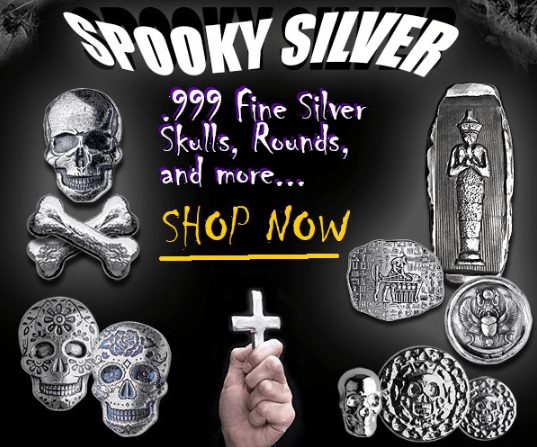 Spooky silver square banner