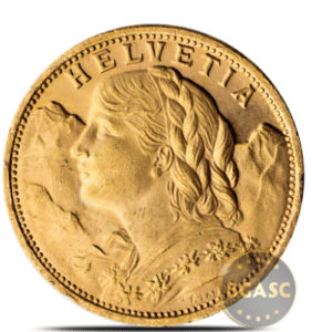 Swiss Gold 20 Franc Helvetia Coin AGW .1867 oz - Almost Uncirculated (Random Year)