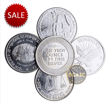 Secondary market silver bullion rounds assorted