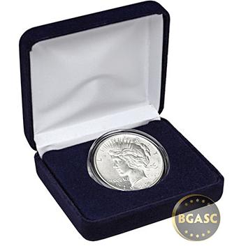 uncirculated Peace dollar in velvet box