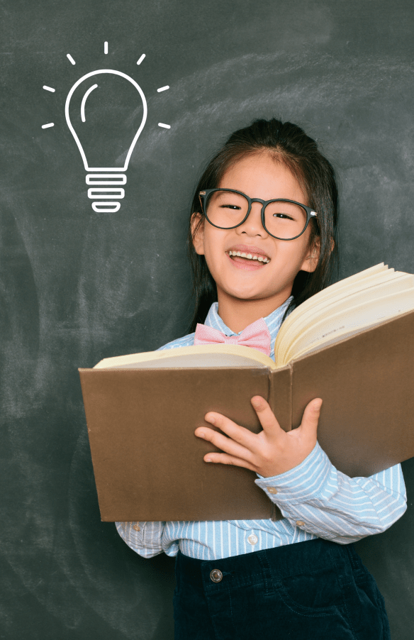 Kid with book and lightbulb