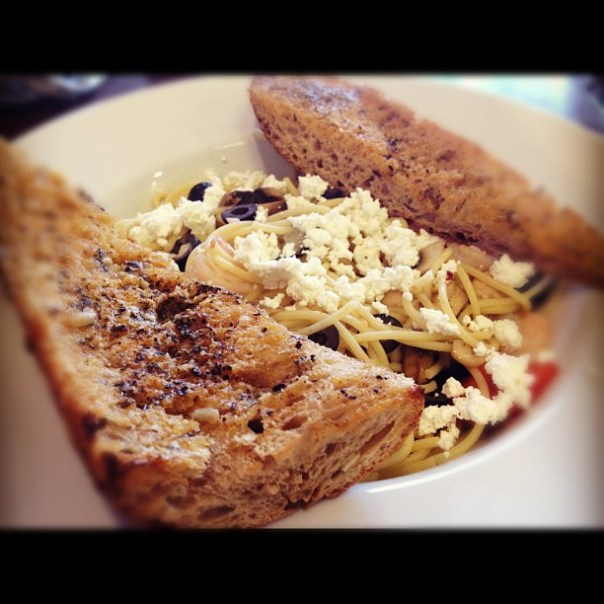 #Spaghetti de Billy! Shrimp, olive, tomato, mushroom, goat cheese with white wine sauce!