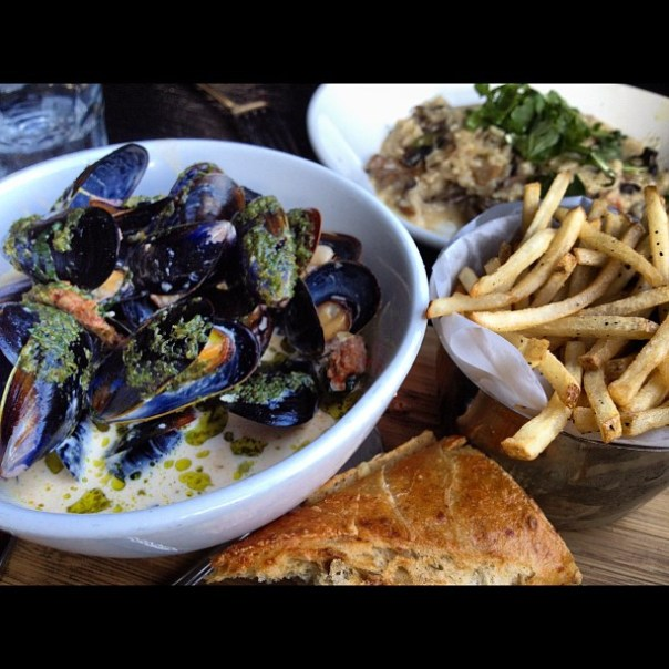 Mussels, skinny fries and mushroom risotto! - from Instagram