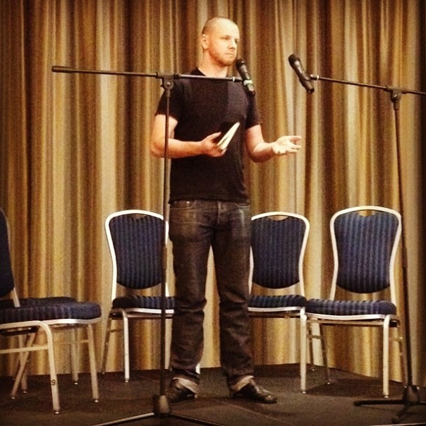 The 3rd speaker of tonight: Adam from @Beta5chocolates #foodtalksvan - from Instagram