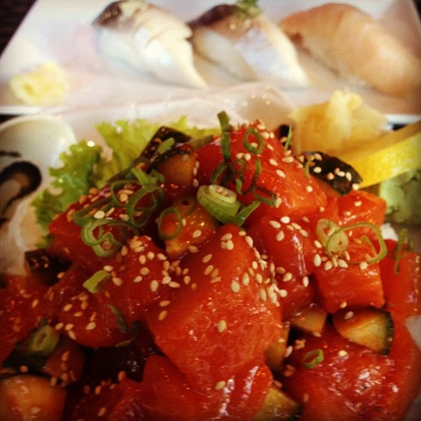 Spicy Salmon & Tuna + Saba + Toro = happy meal - from Instagram