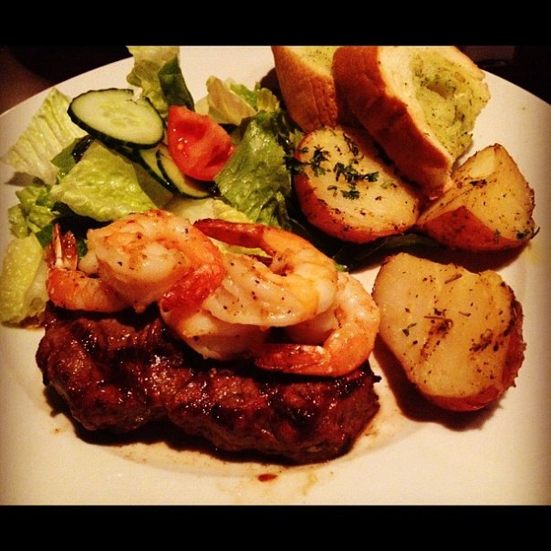 And the main is #NewYork #Steak + #Sauteed #TigerPrawns! Yumm! - from Instagram