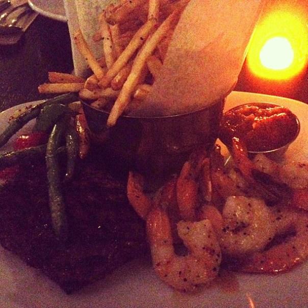Hey the king's back dinner w/ @jminter. Sirloin + Tequila lime prawns - from Instagram