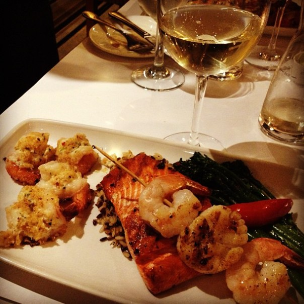 Merry Christmas dinner! Mixed Seafood Grill + Tyee Pinot Gris @toTheBoatHouse - from Instagram