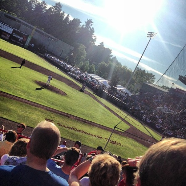 It's a perfect hot weather for a #baseball game. ;D #vancouver #canadians vs. #spokane #indians - from Instagram