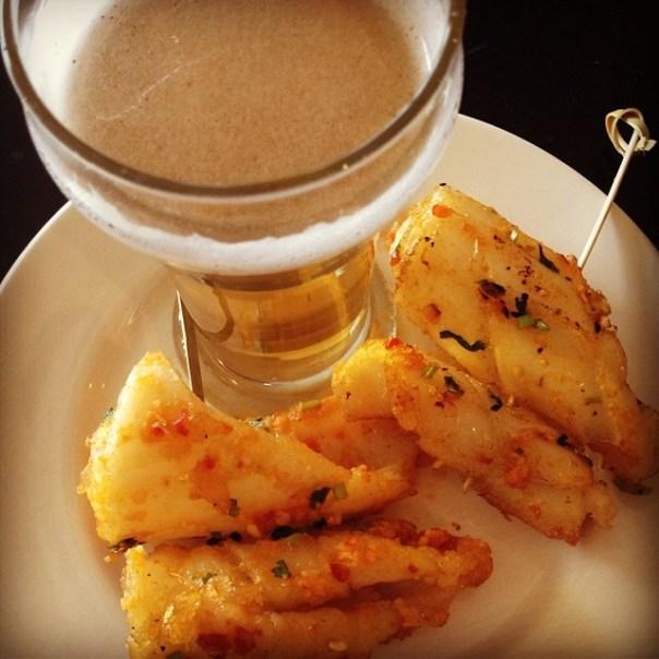First stop of #VFPalate @granville_isle is @eatDockside - Fresh Chili Calamari + Marina LightLarger - from Instagram