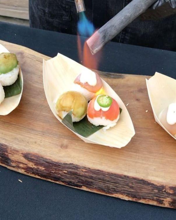 Aburi Salmon, Albacore Tuna & Avocado Temari Sushi - #Mixology Night On The Pier @harmonyarts #harmonycocktails..#westvancouver #mixologynightonthepier #festival #salmon #tuna #albacore #avocado #party - from Instagram