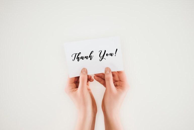 Agradecimento de pesquisa de satisfação