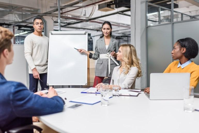 equipe de trabalho discutindo mapa da jornada do cliente.