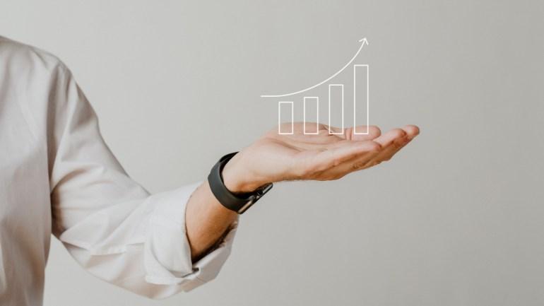 gráfico com indicadores crescentes