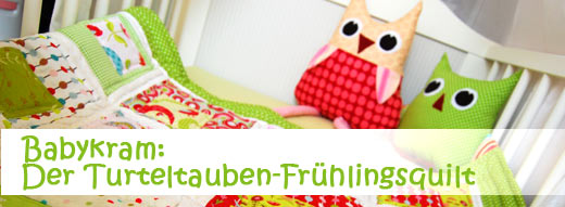 Babykram: Turteltauben-Frühlingsquilt