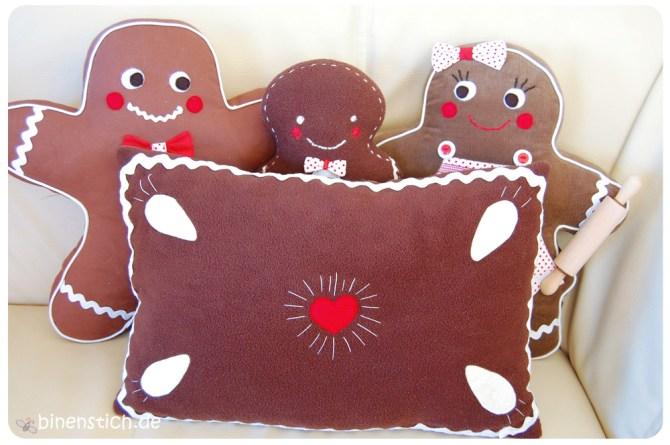 Nähen für Weihnachten: Lebkuchenkissen - gratis Anleitung - und Lebkuchenmann mit Familie | binenstich.de