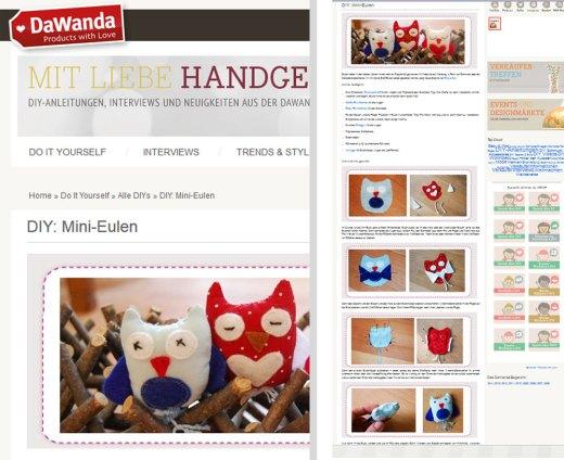 Tutorial für Eulenpüppchen, DaWanda-Blog, Sept. 2012