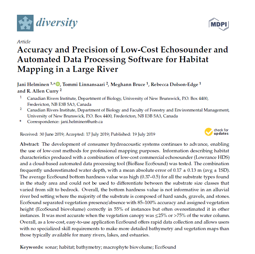 BioBase Paper Published: Accuracy and Precision of Low-Cost Echosounder and Automated Data Processing Software for Habitat Mapping in a Large River