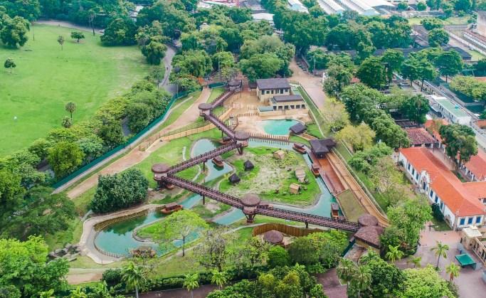 Vista aérea da Aventura Selvagem, recinto dos animais da Savana Africana, no BioParque do Rio