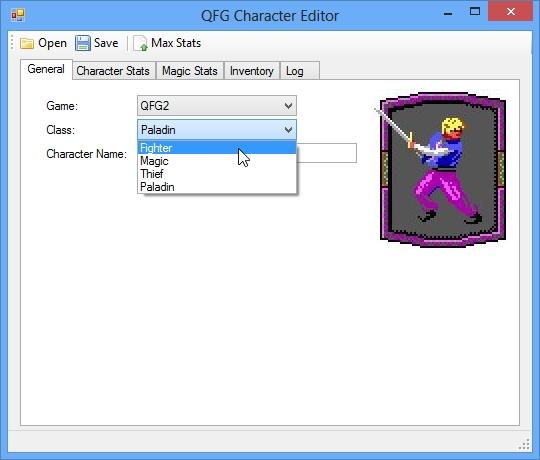 QFG Character Editor - QFG2 Screenshot