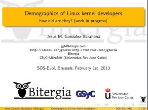 Presentation: Demographics of Linux kernel developers