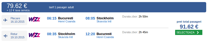 Bilete avion Bucuresti - Stockholm
