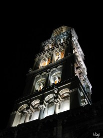 Zvonik Sv. Duje noću, Split, Hrvatska