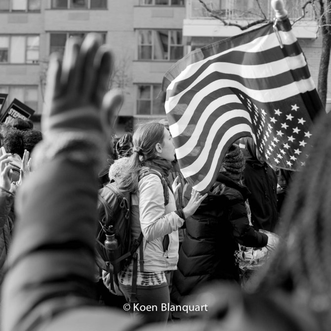 Hands Up, Don't Shoot is one of the slogans of the Millions March NYC #Handsupdontshoot (Image: Koen Blanquart)