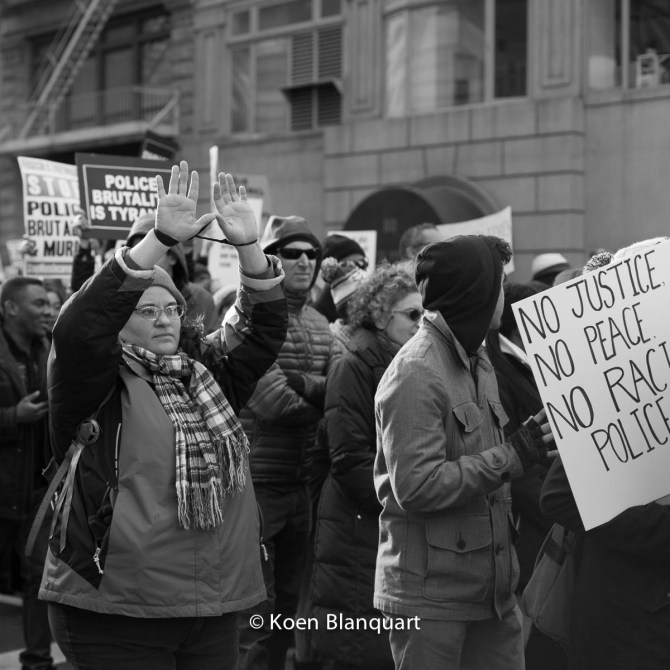 Hands Up, Don't Shoot is one of the slogans of the Millions March NYC #Handsupdontshoot
