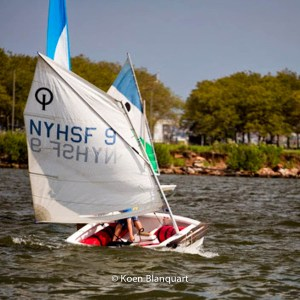 A young sailor learns to navigate the optimist in the Sailing School Youth Program on the Hudson River (Image: Koen Blanquart) - August 2013