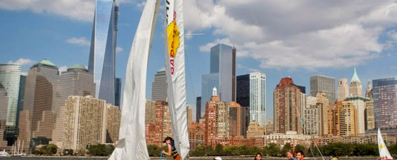 The Eclipse, sailing in front of the Hudson River board and, the North Cove Marina and One World Trade Center (Image: Koen Blanquart)