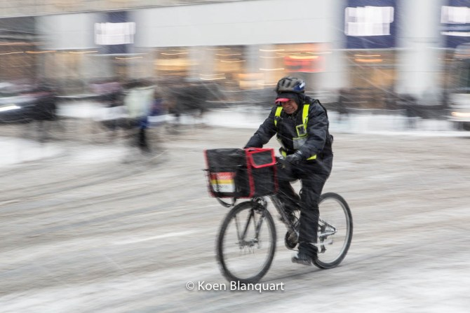 Not all delivery will be seamless today... (At Herald Square - image koen blanquart)