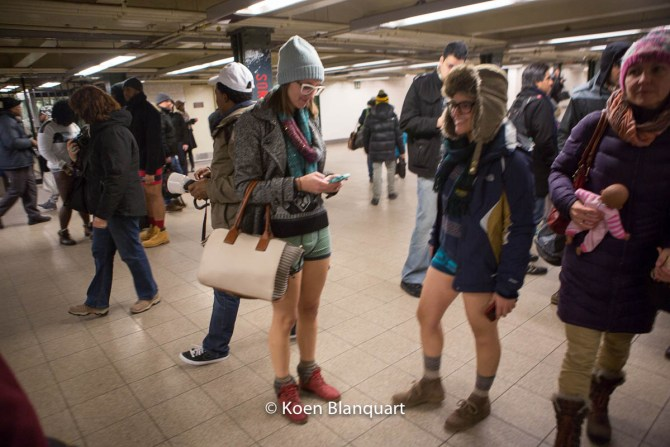 People in Union Square station - No Pants Subway Ride